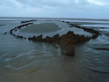 Once a month, at very low tide, this shipwreck pf the Amsterdam is visible. The Dutch East India Company ship sank in 1749 after a series of calamities (storm, plague, mutiny, treachery and more) on her maiden voyage. I'm writing a story about her final days.