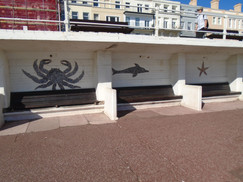 These murals are made from seashells gathered on the local beach. Apparently,  a local amateur artist created them spontaneously.