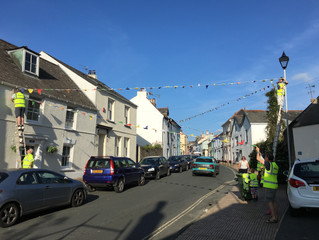 Bunting goes up around the village for the Midsummer Festival (17/18/19 June)