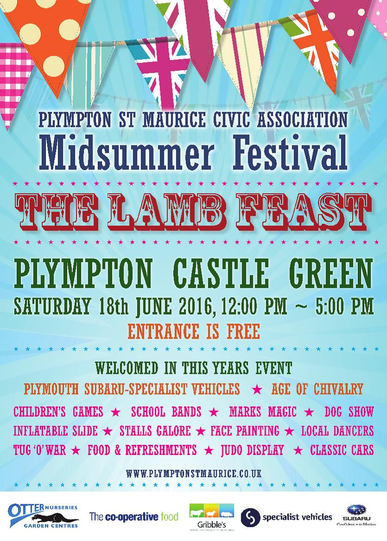 Plympton St Maurice Lamb Feast 2016 Poster