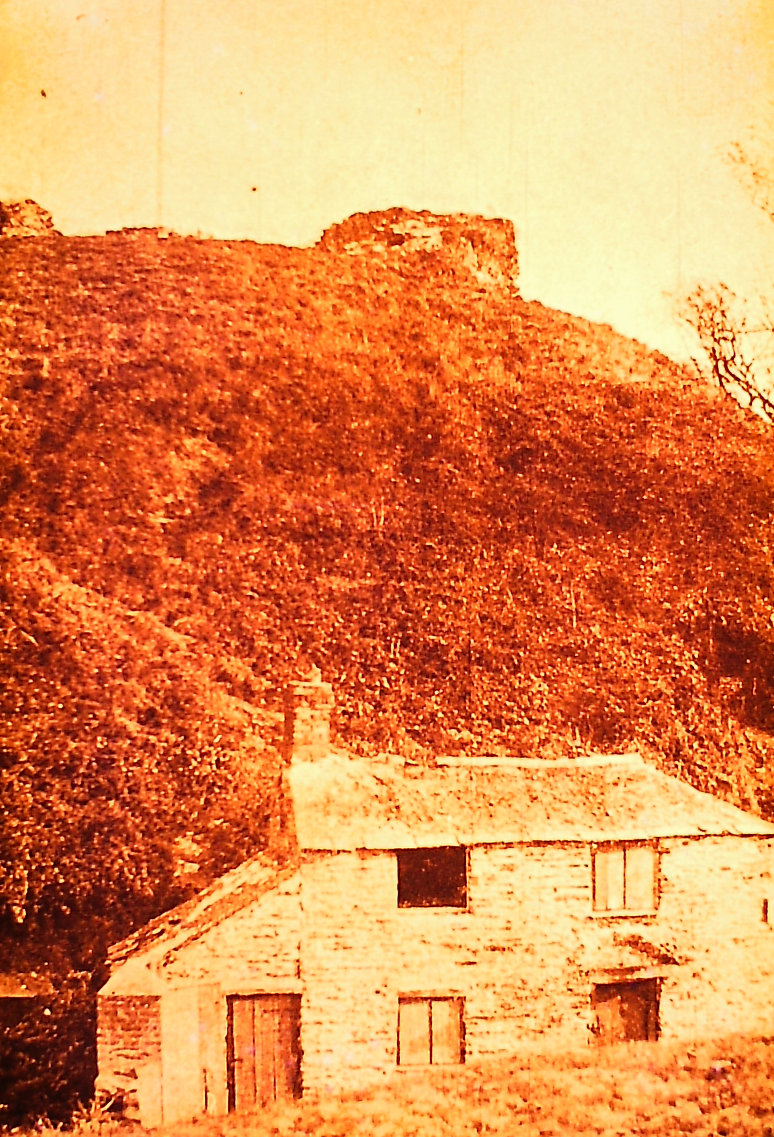 Castle - with old cottage below -1904