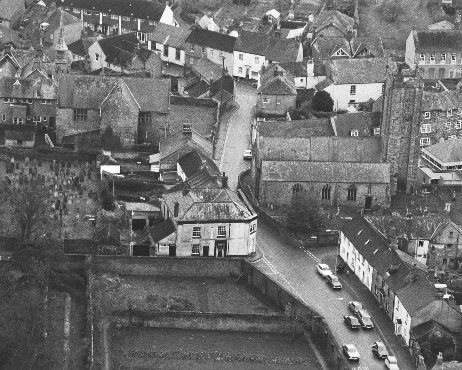Old Grammar School - aerial view from the N.