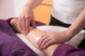 North Cornwall Massage Therapist massaging a calf