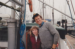 Peter and Marilyn Collier, Joel's parents, standing on the Lisa Jess on the day they bought her in 1990