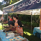 Melissa serving scallops at the 2018 BC Seafood Festival in Comox BC