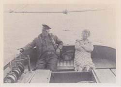 Great Grandpa and Granny Larson on thier fishing boat the Seafarer in the 1920s