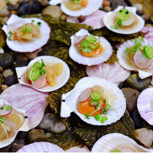 """Raw swimming scallops with Forage's 7-month old Herring """"Nuoc Man Cham', gingerand scallion confi"""