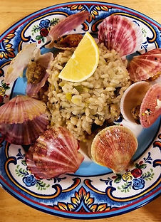 Mushroom and Leek Risotto with Wild Swimming Scallops