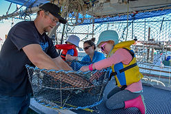 Joel and Melissa Collier with thier kids on the Lisa Jess working on a prawn trap
