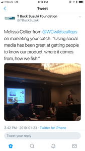 Tweet by T. Buck Suzuki quoting Melissa Collier during her presentation at the BCYFN gathering about marketing your catch