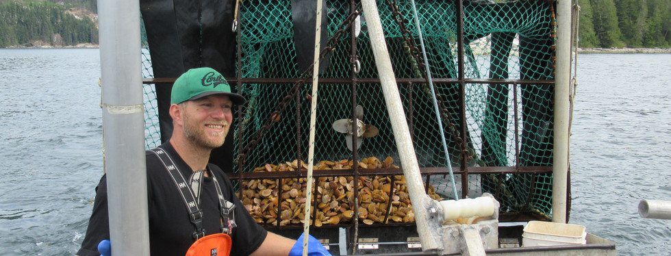 Joel Collier with a full trawl of scallops