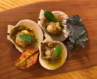 BBQ Swimming Scallops with a Maple Shallow Mignonette Sauce