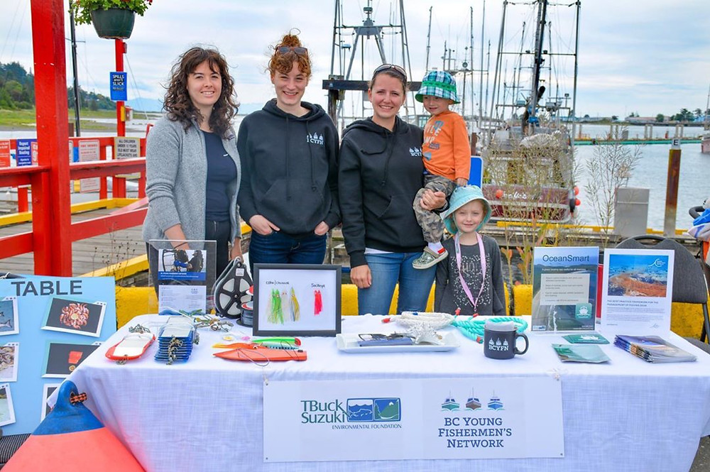 BC Young Fishermen's Network, including Melissa Collier and the kids, at Dock Days during the BC Seafood Festival, 2019