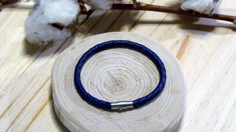 Bracelet en cuir tressé bleu