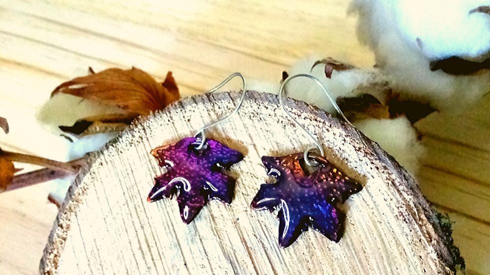 Boucles d'oreille feuille d'érable