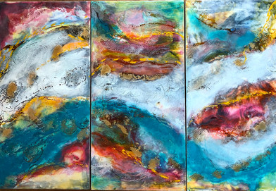 Surface Tension (Triptych). SOLD