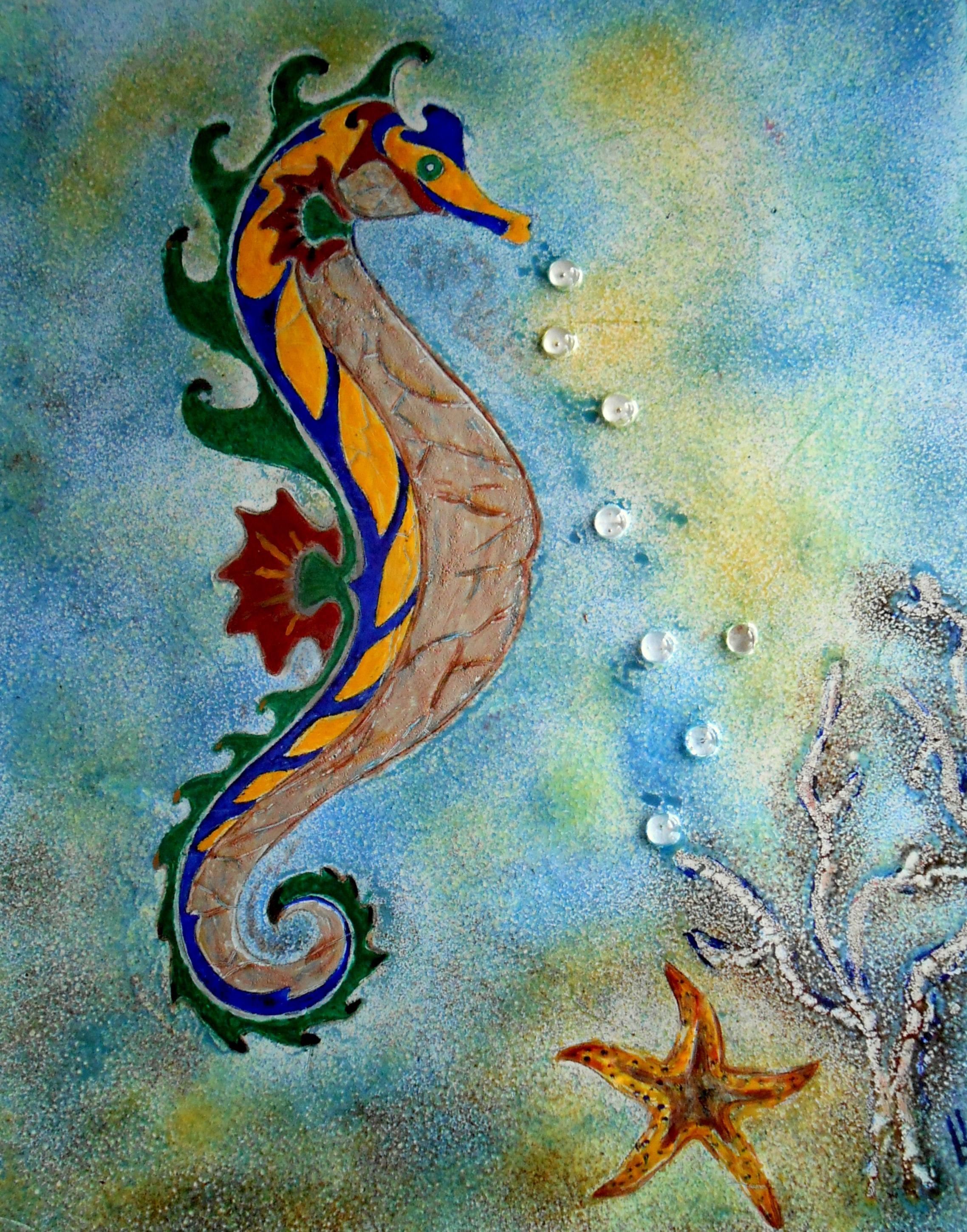 emaille zeepaard schilderij