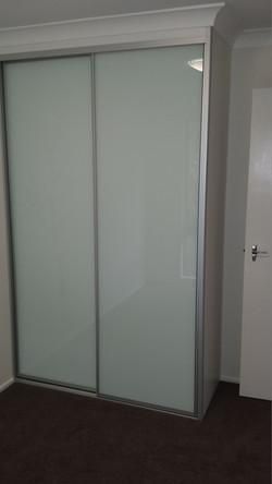 9 Silver framed White Glass