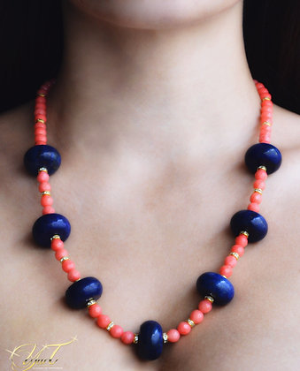 Blue Lapis and Pink Coral