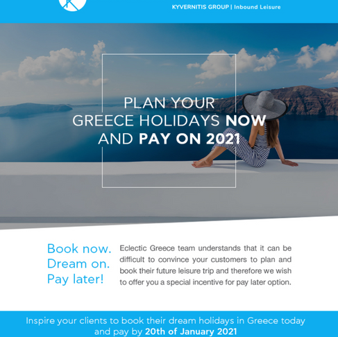 Book now pay later with Eclectic Greece