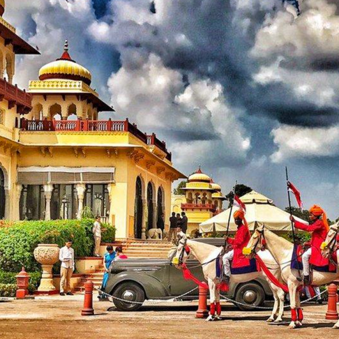 Grand Royal Procession Welcome at Taj Rambagh Palace with Equinox India