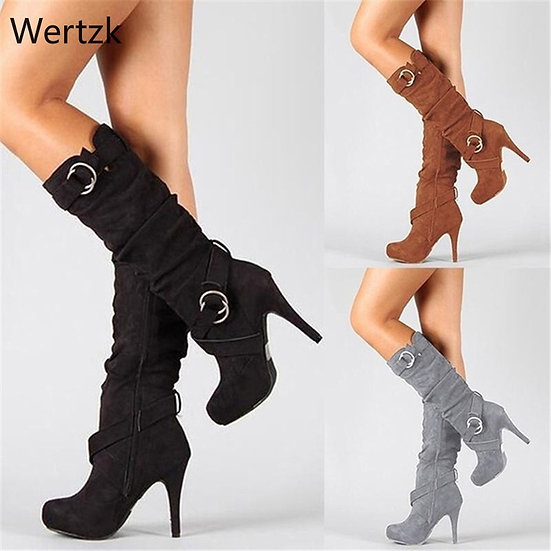 Knee High Women Boots Thin High Heel Round Toe Platform