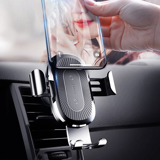 Hands free wireless car charger air vent mount outlet clip type