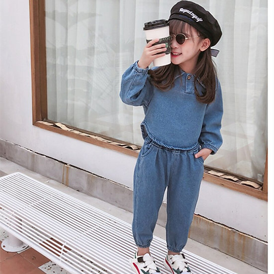 Girls Fall Outfits Children Denim Clothing Set Long Sleeve