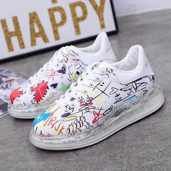 Graffiti Shoes Leisure Walking Shoe Cushion Women Flat Sneakers