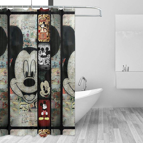 Mouse Background Printed Shower Curtain, Polyester Fabric
