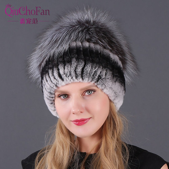 Hat Russian Knit Cap Hat Female Winter Rabbit and Fox Hat