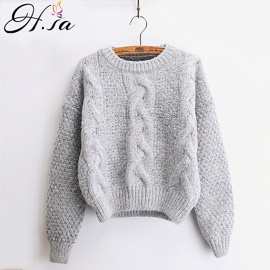 Women Sweaters Warm Pullovers Crewneck Mohair Pullover Twist Pull Jumpers Autumn
