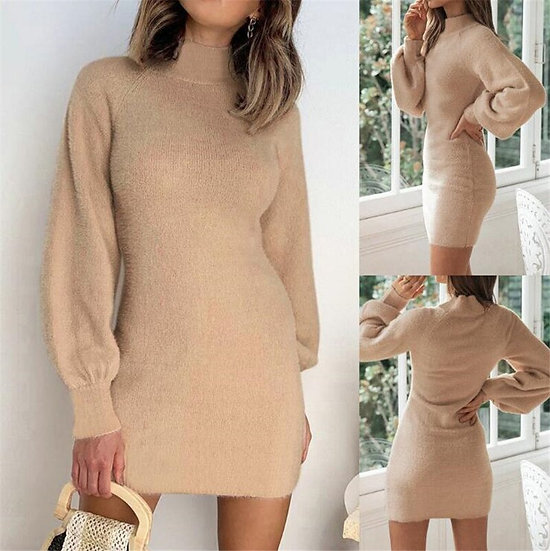 Sweater Dress Casual Winter Round Neck