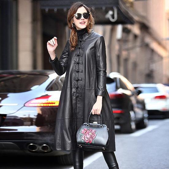 Nerazzurri Long Black Spring Faux Leather Coat Women Long Sleeve