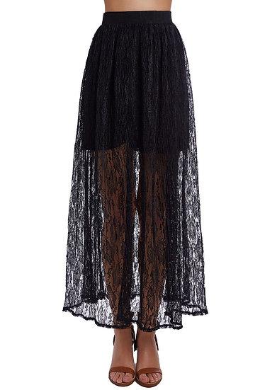 Black Crochet Maxi Skirt