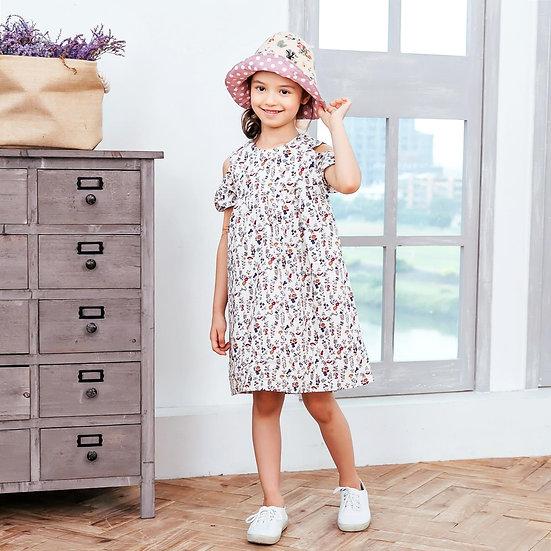 (Girl) Floral-Print cold-shoulder Dress