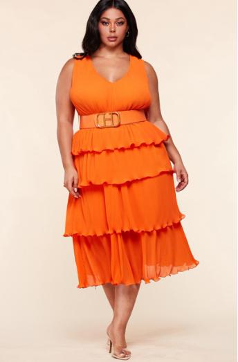 Plus Size Layered Pleated Midi Dress
