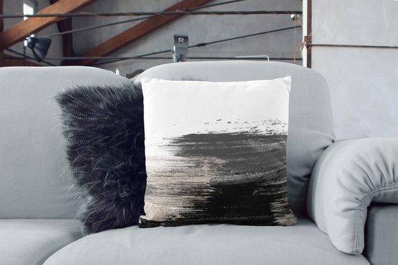 White Pillow Black Pillow Sofa Pillows Couch Art