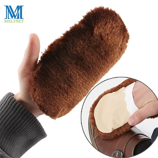 Soft Shoe Brushes Plush Gloves for Cleaning Wipe Shoes Handbag Leather