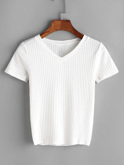 Off White V-cut Ribbed Tshirt