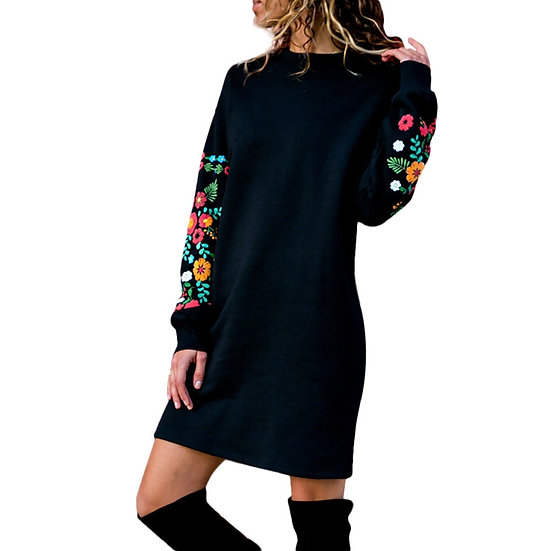 Casual Long Sleeve Floral Embroidery