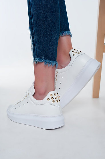 White Sneakers Studded Flats