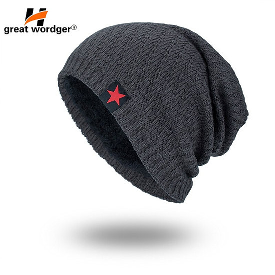 Windproof Hiking Caps Thermal Fleece Knitted Hat