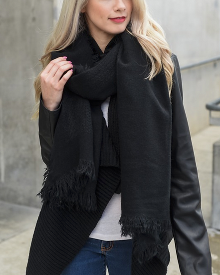 Black Frayed Blanket Scarf