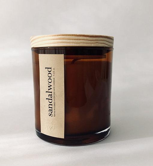 sandalwood scented luxury soy candle