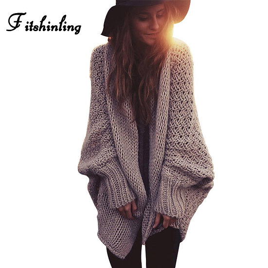 Batwing Sleeve Sweaters Long Cardigan Female Knitted Clothes Khaki