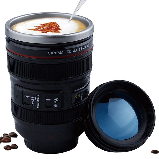 400ml Stainless Steel Liner Camera Lens Mugs Coffee Mugs