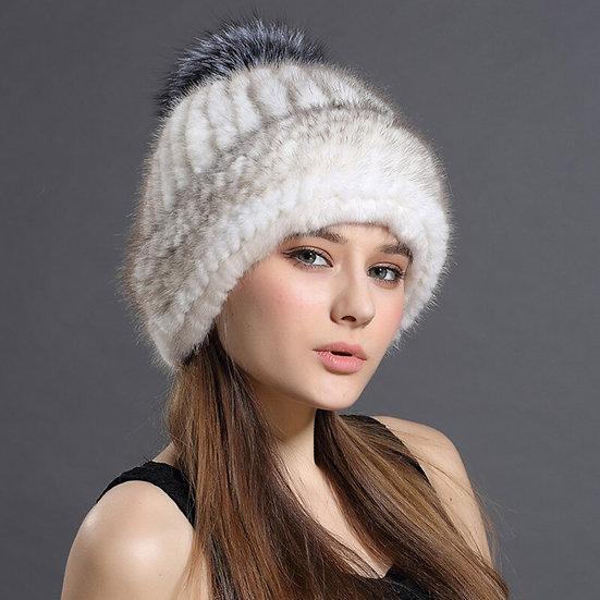 Women's Knitted Mink Hat