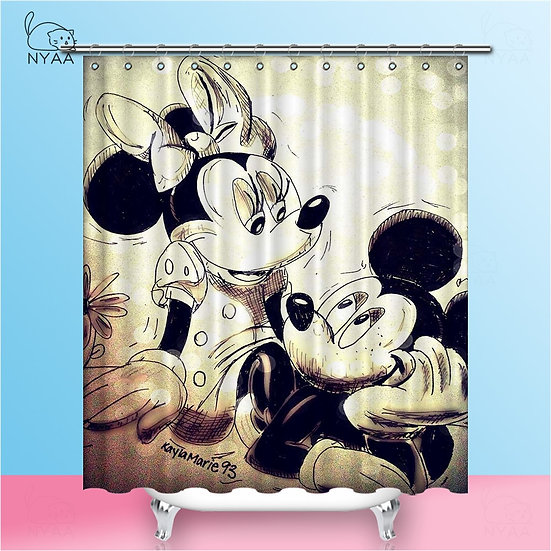Mickey Shower Curtains  Waterproof Polyester Fabric Bathroom