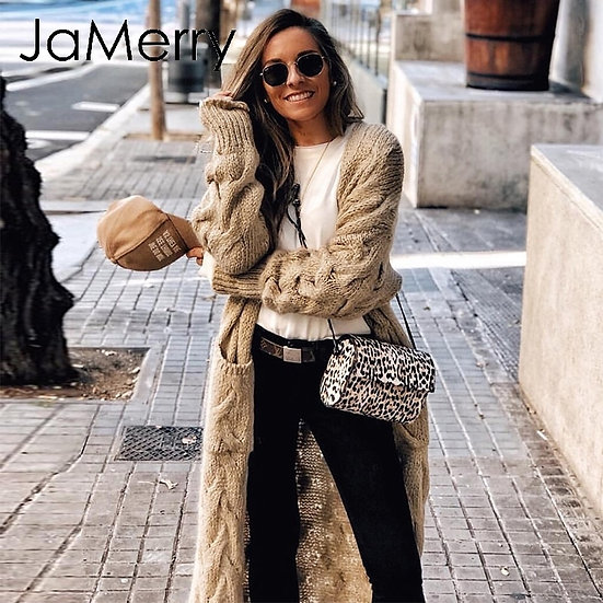 JaMerry Vintage Winter Mohair Long Cardigan Knitted Sweater